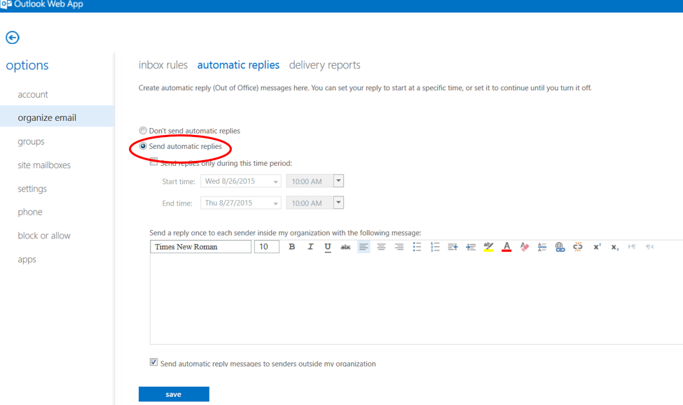 Outlook Web App: Automatic Out of Office Reply – Athens