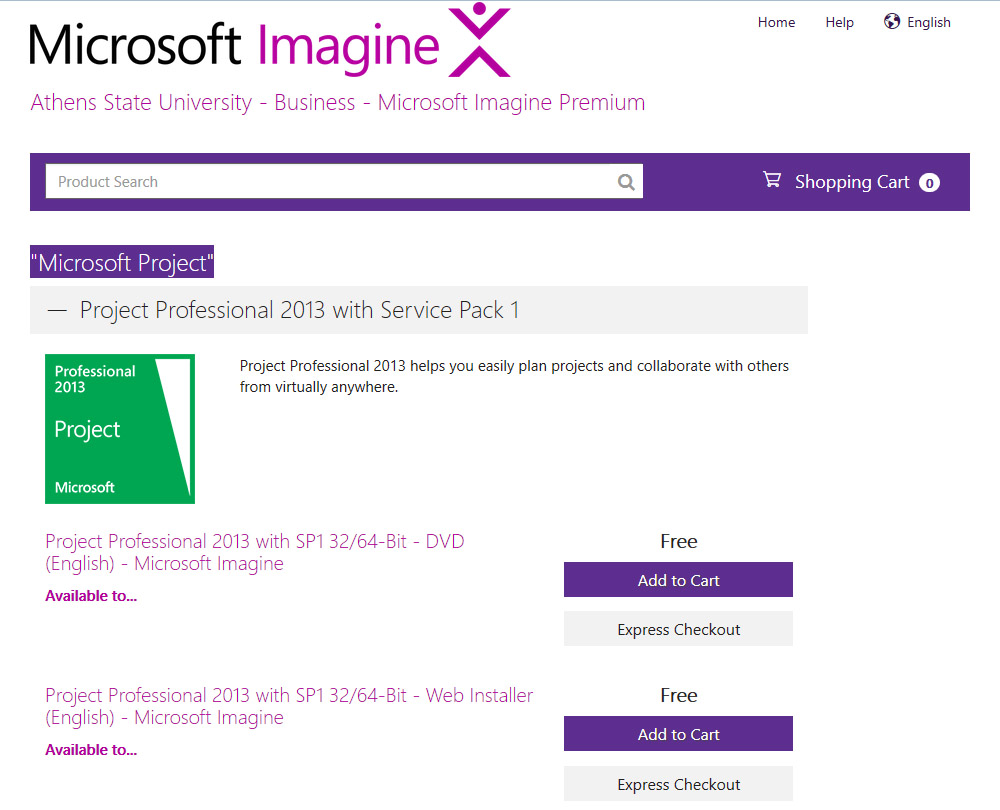 Microsoft Project: Instructions for downloading and
