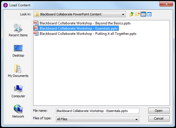 Blackboard Collaborate: Loading and advancing PowerPoint